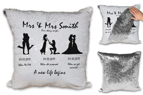 Personalised Mrs & Mrs Our Story So Far A New Life Begins  Sequin Magic Reveal